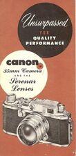 1950s CANON 35mm RANGEFINDER CAMERA SERENAR LENS BROCHURE -CANON 28-135mm LENSES