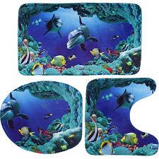 3PC Ocean Dolphin Bathroom Lid Toilet Seat Cover Pedestal Rug Bath Mat Carpet