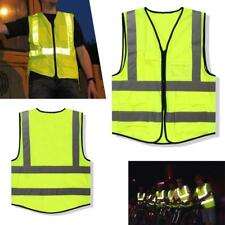 1x Neon Green Safety Vest Reflective Strips Security Waistcoat Warp Knitting UP