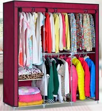 "Portable 63"" Clothes Closet Organizer Wardrobe Clothes Rack Stainless Detachable"