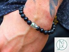 Uomini Nero Onyx/MATT Teschio Braccialetto con cristalli Swarovski 7-8 pollici con elastico