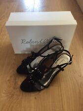 Roland Cartier Jupiter RC Frill Tbar Black Sandal Size Eu39