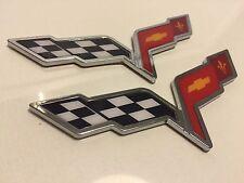 X2 Cross Flags CHEVROLET corvette CAR TRUCK EMBLEM LOGO DECAL SIGN CHROME 01