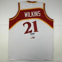 Autographed/Signed DOMINIQUE WILKINS Atlanta White Basketball Jersey PSA/DNA COA