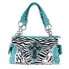 TURQUOISE ZEBRA RHINESTONE CROSS SHOULDER HANDBAG COUNTRY WESTERN BLING PURSE