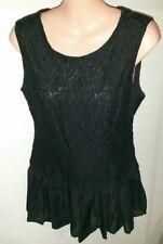 H&M Peplum black top sleeveless Lace Chiffon trim- Size US8
