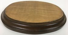 """1 Oval Wood Display Base for Collectables 7.5"""" X 5"""" X 1"""" Brown Stained hardwood"""