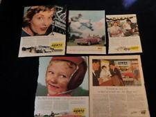 Vintage 1950's- 1963 Hertz Car Ad Lot of 5  QA7