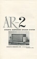 Acoustic Research Ar-2 Original Speaker Brochure