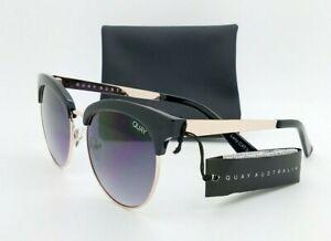 NEW Quay Cherry Sunglasses Black Gold Smoke Gray Gradient AUTHENTIC Metal Womens