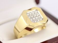 Diamond Signet Ring 18ct Gold Gents Vintage Size W 1/4 750 12.9g Bj57