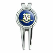Connecticut State Flag Golf Divot Repair Tool and Ball Marker