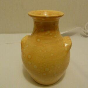 "Unusual Studio Art North Carolina Pottery 6"" Vase Spotted Mustard Yellow Heavy"