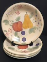 """Set 4 Gibson Designs Fruit Grove Dinner Plates 11 1/4""""Hand Painted Pears Apples"""