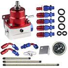 Universal Adjustable Fuel Pressure Regulator Kit AN 6 Fitting End+100 Psi Gauge