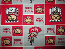 OHIO STATE UNIVERSITY BUCKEYES CHECKED COTTON FABRIC 17 Inch Scrap Cut