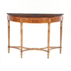 Adam Style Hand-Painted Mahogany Demilune Console Table, 20th Century
