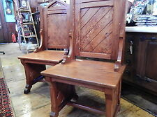 Antique Vintage Chapel Chair Pew Throne Seat Pitch Pine Solid Wood Large Pair