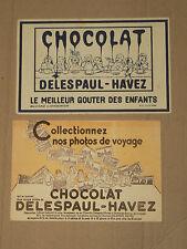 Lot de 2 Buvard Chocolat DELESPAUL HAVEZ publicitaire