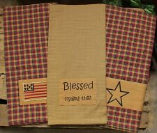 3 Assorted Tea Towels -- Patriotic, Blessed, Star -- 100% Cotton