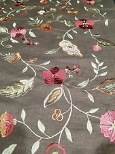 2 Yards Of Embroidered Flower Brown Fabric upholstery curtains pillows