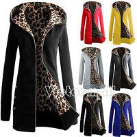 Women's Long Sleeve Zip up Leopard Fleece Hoodie Cardigan Coat Sweatshirt Jacket