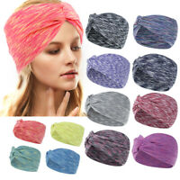 Women Boho Wide Stretch Headband Turban Sports Yoga Knotted Hairband Hair Wrap