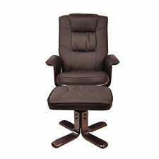 PU Leather Lounge Office Recliner Chair Ottoman Chocolate 360 Degree Swivel White