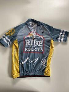 HINCAPIE Ride the Rockies Colorado Cycling Jersey Mens Medium Blue White  Gold