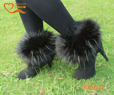 Women Boot Shoes Cover Warm Faux Fox/Rabbit/Raccoon Fur Lower Ladies Leg Warmer
