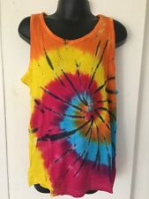 Kids Tie-Dyed Unisex Singlet Rainbow With Black Swirl 6-8yrs Great for Christmas