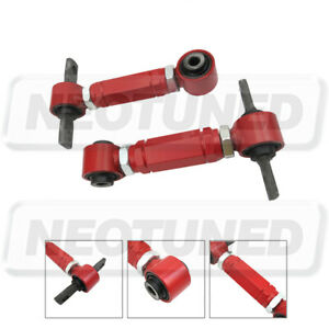 Red Adjustable Steel Rear Camber Arms Kit Set For 1990-93 1994-01 Acura Integra