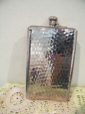 "VINTAGE GERMAN HAMMERED HIP FLASK empty MARKED made in GERMANY *B*APPROX 7"" X 5"""