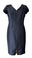 Navy Blue Marks & Spencers Formal Fitted Office Dress Uk 14 Zip Through