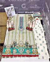 Linen Suit  salwar kameez Embroidered stitched suit with wool shawl now £25