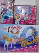 NEW Disney Cinderella Doll + Magical Transforming Carriage + Vanity Playset