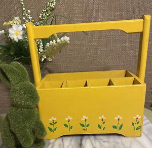Wooden Box Planter Organizer Teleflora 1984 Yellow White Vintage Daisies SPRING