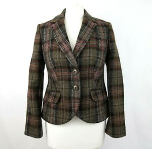 BODEN British Tweed by Moon Plaid Wool Jacket UK 10 Petite Fitted Pockets