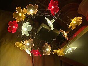"3 - IKEA HANGING INDOOR /OUTDOOR FLOWER LIGHTS 9"" RED, YELLOW ,WHITE Battery"