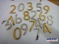 """3""""/75mm Arrone Door Numbers Numerals Digits Chrome Brass 0 1 2 3 4 5 6 7 8 9"""