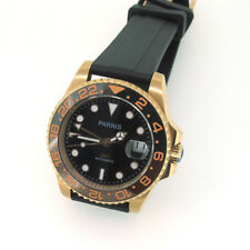Parnis GMT Automatic Mechanical Men Watch Date Sapphire Glass Black Rubber Strap