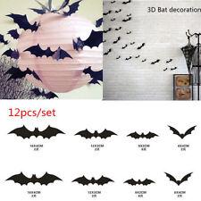 2 sets 12 pcs Black 3D DIY PVC Bat Wall Sticker Decal Halloween Home Decorations