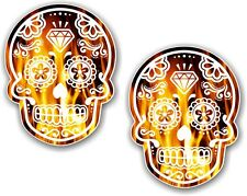 2pcs 70x55mm Mexican Day Of The Dead Sugar Skull Orange Real Fire Car Sticker