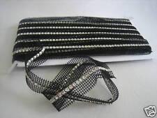 Crystal Rhinestone Trim Banding Silver-Black Netting