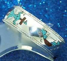 CRUSHED TURQUOISE & CRUSHED CORAL CUFF BRACELET SOLID 925 STERLING SILVER 13.9 g