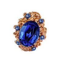 Vintage Style Antique Gold and Royal Dark Blue Stone Adjustable Ring FR186