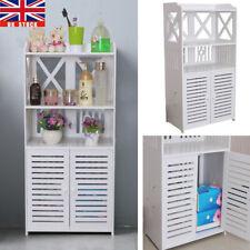UK Waterproof White Wooden Bathroom Cabinet Shelf Cupboard Bedroom Storage Unit