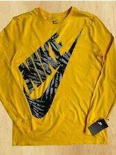 NWT Nike Futura Logo Men's Sz Medium Long Sleeve Athletic Cut T-Shirt Yellow
