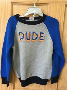 NWT Gymboree Boy Sweater Pullover Gray Blue Dude Outlet