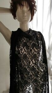 """Black  Embossed Floral Lace 4 ways Stretch Fabric Double scalloped 58"""""""